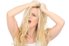 Attractive Stressed Aggressive Young Woman Looking Unhappy and Frustrated Royalty Free Stock Photography