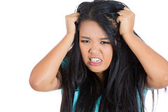 Attractive stressed woman pulling hair out Royalty Free Stock Images