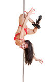 Attractive stripper in red lingerie Royalty Free Stock Images