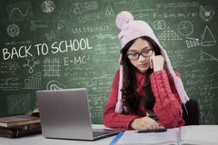 Attractive student back to school while wearing sweater Stock Photography