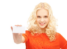 Attractive student with business card Stock Photo