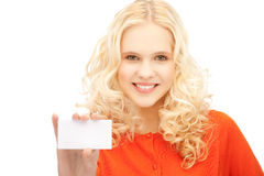 Attractive student with business card Stock Images
