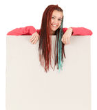 Attractive student girl with blank billboard Royalty Free Stock Photo