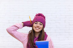 Attractive Student Girl Happy Emotional Smile In Pink Hat Holding Folder Pencil Royalty Free Stock Photography