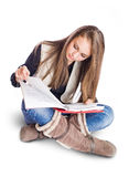 Attractive student girl studying. Royalty Free Stock Photo
