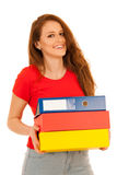 Attractive student holding folders isolated over white backgroun Royalty Free Stock Photo