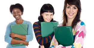 Attractive students with book Stock Photo