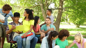 Attractive students reading and chatting together outside on campus