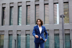 Attractive stylish man walking in meeting with a colleague Royalty Free Stock Images