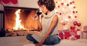 Attractive stylish woman celebrating Christmas Royalty Free Stock Images