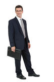 Attractive successful adult business man in black suit isolated Stock Photography