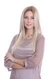 Attractive successful businesswoman with arms crossed isolated o Stock Photography