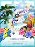 Attractive summer beach party poster Royalty Free Stock Images