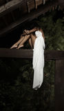 Attractive suntanned girl in white dress poses. Attractive suntanned girl in white dress poses on a wooden beam Royalty Free Stock Photography