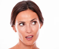 Attractive surprised brunette young woman only Stock Photos