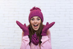 Attractive Surprised Excited Smile Teenage Girl Happy Gesture Royalty Free Stock Photos