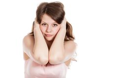 Attractive surprised excited smile teenage girl Stock Images