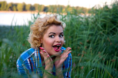 Attractive surprised pin up girl Stock Photos