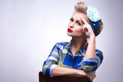 Attractive surprised pin up girl - retro style portrait stock photos