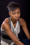 Attractive and surprised young black female Stock Image