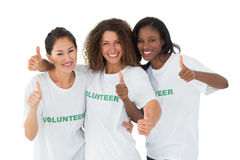 Attractive team of volunteers giving thumbs up at camera Royalty Free Stock Photo