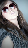 Attractive Teen in Aviator Shades Royalty Free Stock Photos