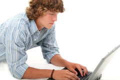 Attractive Teen Boy With Laptop Computer Royalty Free Stock Image