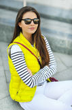 Attractive teen girl wearing sunglasses Royalty Free Stock Photography