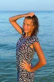 Attractive teen girl in wet dress Stock Photography