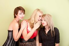 Attractive teen girls sharing secrets Royalty Free Stock Image