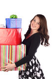 Attractive teen with present Stock Photo