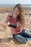 Attractive teen on seashore Royalty Free Stock Photo