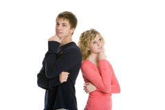 Attractive teenage couple brainstorming Stock Images