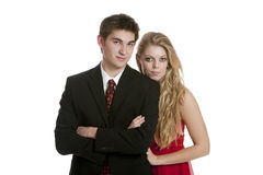 Attractive teenage couple standing close together stock image