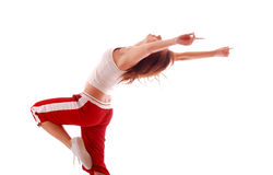 Attractive teenage dancing over white background Stock Images
