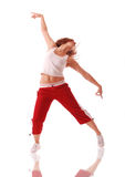 Attractive teenage dancing over white background Royalty Free Stock Images