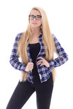 Attractive teenage girl in eyeglasses with beautiful long hair p Stock Photography