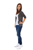 Attractive teenage girl. Full length shot of an attractive teenage girl. All on white background stock images