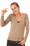 Attractive teenage girl gesturing too small Stock Photo