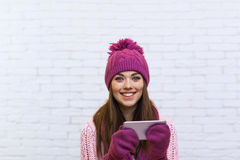 Attractive Teenage Girl Texting Message Communication Using Cell Smart Phone Royalty Free Stock Photo