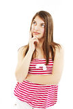 Attractive teenage girl think looking up stock photo