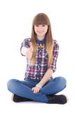 Attractive teenage girl thumbs up  on white Stock Photography