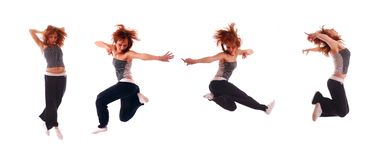 Attractive teenage jumping over white background Stock Photography