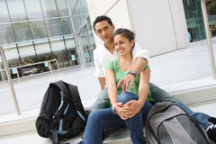 Attractive Teenage Students at College Stock Photography