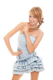 Attractive teenager in blue dress Royalty Free Stock Images