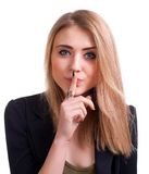 Attractive teenager gesturing silence Stock Photos