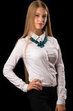 Attractive teenager girl in white shirt Royalty Free Stock Photography