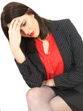 Attractive Thoughtful Young Business Woman Sitting Alone Royalty Free Stock Photos