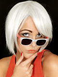 Attractive Thoughtful Young Woman Wearing Sunglasses Royalty Free Stock Photos
