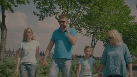 Three generation family taking a walk in summer park stock video